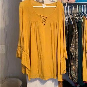 Yellow flowy dress shirt NEVER worn size 3xL